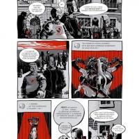 """pág.1 da versão espanhola do 1ºcap. de Psycho Whip - des. <strong><a href=""""http://www.chilicomcarne.com/index.php?option=com_rsgallery2&amp;Itemid=42&amp;catid=61"""">Jorge Coelho</a></strong>, arg. DJ GoldenShower"""