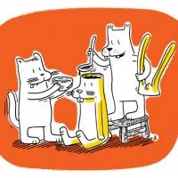 """Cartoon de Silas Ferreira publicado no """"Seitan Seitan Scum"""" (Mesinha de Cabeceira #22, El Pep + Chili Com Carne; 2010)"""