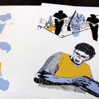 """Serigrafia de <strong><a href=""""http://www.chilicomcarne.com/index.php?option=com_rsgallery2&amp;Itemid=42&amp;catid=95"""">Joana Pires</a></strong> para a exposição das ilustrações do <strong>Bestiário Ilustríssimo</strong> (Chili Com Carne + Thisco; 2012) de Rui Eduardo Paes."""