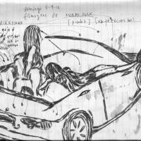 """Desenho do caderno de viagem da Ana Ribeiro durante a tour europeia da CCC, publicado no livro """"Boring Europa""""."""